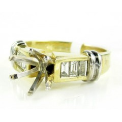 Ladies 14k Yellow Gold Baguette Diamond Semi Mount Ring 0.30ct