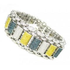 10k Solid White Gold Multi Color Diamond Multi Link Bubble Bracelet 9.80ct