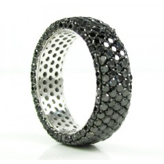 Ladies 14k White Gold Black Diamond Eternity Band 4.75ct