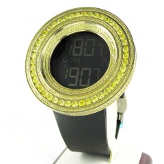 Mens Techno Link Yellow Stainless Steel Digital Cz Watch 15.00ct