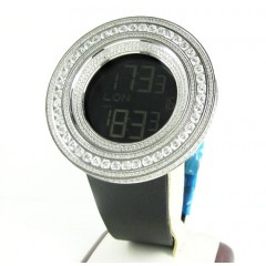 Mens Techno Link White Stainless Steel Digital Cz Watch 15.00ct