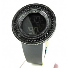 Mens Techno Link Black Stainless Steel Digital Cz Watch 15.00ct