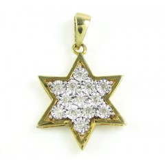 Yellow Sterling Silver Fancy Star Of David Diamond Pendant 0.35ct