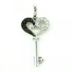 Ladies White Sterling Silver Black & White Diamond Key Heart Pendant 0.20ct