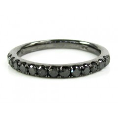 Ladies 14k Black Gold Black Diamond Wedding Band 0.39ct