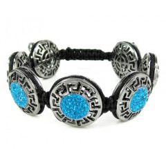 Mens Black Stainless Steel Aqua Blue Rhinestone Round Fendi Style Bracelet 3.50ct