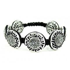 Mens White Stainless Steel Black Rhinestone Round Fendi Style Bracelet 3.50ct