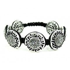 Mens White Stainless Steel Black Rhinestone Round Fendi Style Bracelet 3.50ct