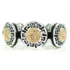 Mens White Stainless Steel Champagne Rhinestone Round Fendi Style Bracelet 3.50ct