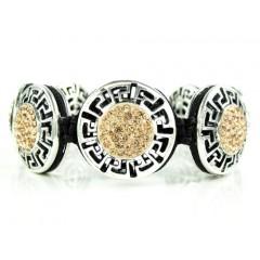 Mens white stainless steel champagne rhinestone round fendi style bracelet 3.50ct