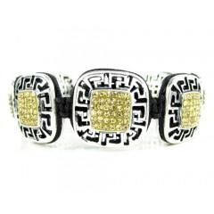 Mens White Stainless Steel Canary Rhinestone Box Fendi Style Bracelet 3.50ct