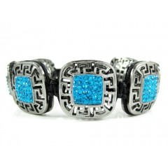 Mens Black Stainless Steel Aqua Blue Rhinestone Box Fendi Style Bracelet 3.50ct