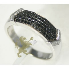 0.60ct Mens 14k White Gold round Cut Black Diamond Band