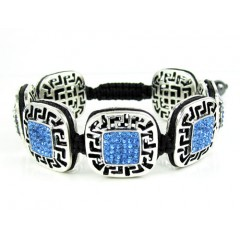 Mens White Stainless Steel Blue Rhinestone Box Fendi Style Bracelet 3.50ct