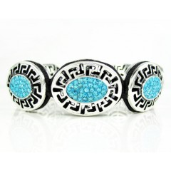 Mens White Stainless Steel Aqua Blue Rhinestone Oval Fendi Style Bracelet 3.50ct