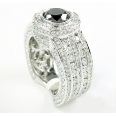 Mens 14k White Gold Black & White Diamond Fashion Ring 5.00ct