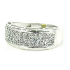 Mens 10k White Gold Diamond Wedding Band 0.40ct
