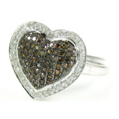 Ladies 10k White Gold White & Champagne Diamond Heart Ring 0.55ct