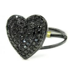 Ladies 10k Black Gold Black Diamond Heart Ring 0.67ct