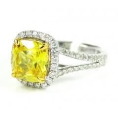 Ladies 14k White Gold Canary Citrine Diamond Ring 3.54ct