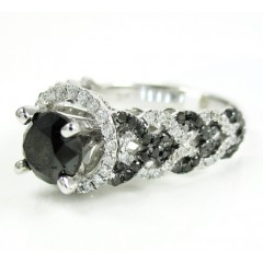 Ladies 14k White Gold Black & White Diamond Fancy Engagement Ring 2.40ct