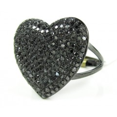 Ladies 10k black gold black diamond heart ring 1.50ct