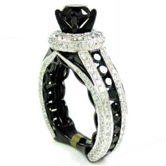 Ladies 10k Black Gold Black & White Diamond Engagement Ring 4.85ct