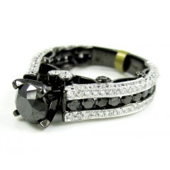 Ladies 10k black gold black & white diamond engagement ring 4.10ct
