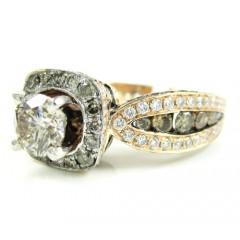 Ladies 14k Rose Gold Champagne & White Diamond Engagement Ring 3.00ct