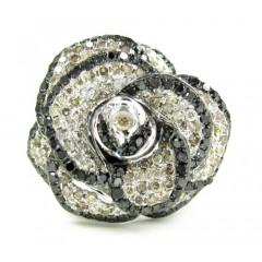 Ladies 14k White Gold Black & Champagne Diamond Flower Ring 1.60ct