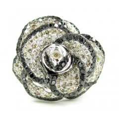 Ladies 14k White Gold Black & Champagne Diamond Flower Ring 1.60ct