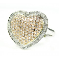Ladies 10k Two Tone Gold Diamond Heart Ring 0.70ct