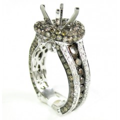 Ladies 14k White Gold Champagne & White Diamond Semi Mount Ring 3.45ct