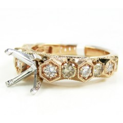 Ladies 14k Rose Gold Champagne & White Diamond Semi Mount Ring 0.99ct