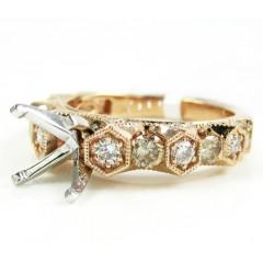 Ladies 14k rose gold champagne & white diamond semi mount ring 0.99ct