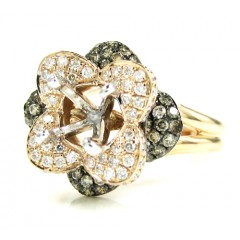 Ladies 14k White Gold Champagne & White Diamond Flower Semi Mount Ring 0.99ct