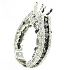 Ladies 10k White Gold Black & White Diamond Semi Mount Ring 2.37ct