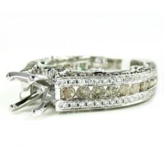 Ladies 14k White Gold Champagne & White Diamond Semi Mount Ring 2.36ct
