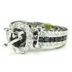 Ladies 14k White Gold Black & White Diamond Semi Mount Ring 2.80ct