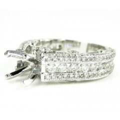 Ladies 14k White Gold Diamond Semi Mount Ring 2.17ct