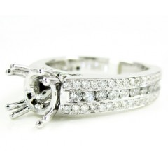Ladies 14k White Gold Diamond Semi Mount Ring 1.06ct