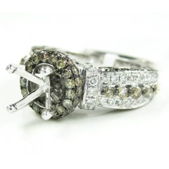 Ladies 14k White Gold Champagne & White Diamond Semi Mount Ring 2.25ct