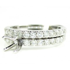 Ladies 14k White Gold Round Diamond Semi Mount Ring Set 1.13ct