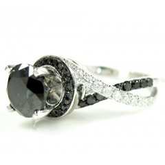 Ladies 14k White Gold Black Diamond Engagement Ring 2.36ct