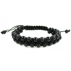 Macramé Matte & Glossy Black Onyx Smooth Bead Double Rope Bracelet