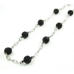 Mens 14k White Gold Black Diamond Bead Chain 6.07ct