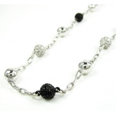 Mens 14k White Gold Black...