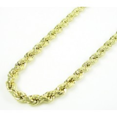 10k Yellow Gold Rope Chain 24 Inch 4mm