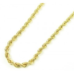 10k Yellow Gold Skinny Rope Chain 18-24 Inch 3.0mm