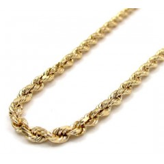 10k Yellow Gold Skinny Diamond Cut Rope Chain 16-30 Inch 2.50mm